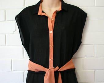 Vintage 1970s Julee Jones Sydney Black Dress Size 16
