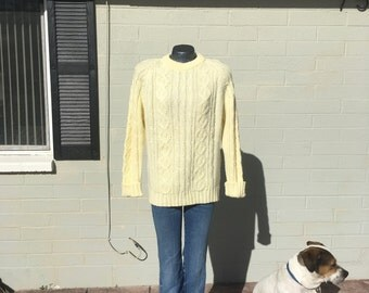 Large Lord and Taylor Acrylic Cream Sweater Boyfriend Over sized Men's Ladies 80's Preppy Classic Warm 90's