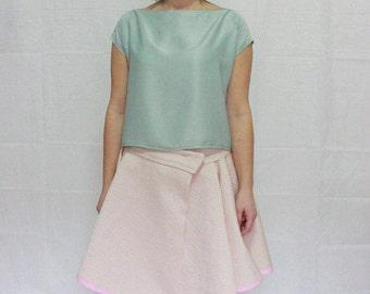 Pink cotton woven wrap skirt, knee length