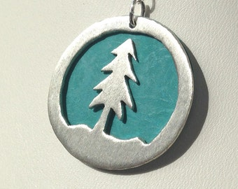 Pine Tree Necklace Handmade Sterling Silver Pine Tree Jewelry Evergreen Necklace Nature Jewelry Silver Fir Necklace Christmas Tree Necklace