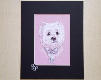 West Highland Terrier Pet Art.  5 x 7  print of Westie,  West Highland Terrier Dog Portrait