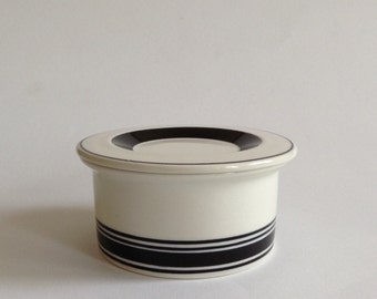 Arabia Finland Peter Winquist  Black and White Jar With Lid