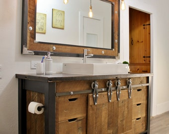 Rustic Vanity 42 Reclaimed Barn Wood Vanity W Barn Tin By Keeriah