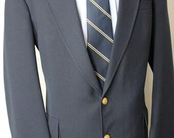 Vintage 44L Stafford Navy Blue Gold Bttns Wool Sport Coat Blazer Jacket FE7