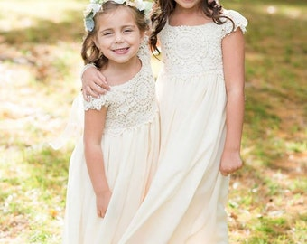 Crochet Flower Girl Dress, Lace Flower Girl Dress, Flower Girl Dresses, Maxi Girls Dresses, Lace Top Flower Girl Dress, Handmade in the USA