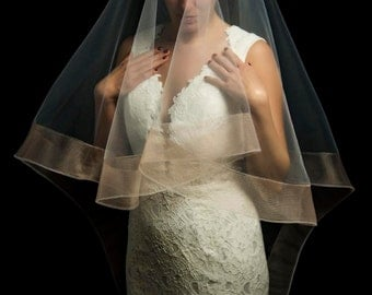 Blush Horse hair trim drop veil, 2 Inch Horsehair Mantilla Cathedral Veil, HorseHair Edge Drop Veil, Wedding Veil, Champagne Veil, Bridal