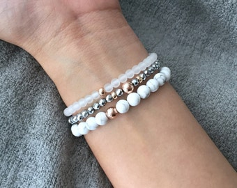 QUINSCO - Three Piece White Howlite and Silver/Rose Gold Bracelet Stack