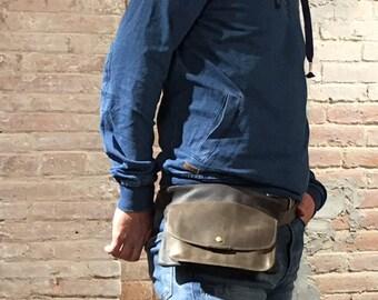 leather fanny pack, leather waist bag, leather shoulder bag, women fanny pack, leather hip bag, leather belt bag, fanny pack, nubuckcuir bag