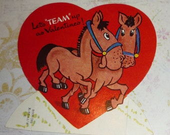 Let's TEAM UP as Valentines A-meri-card Vintage Horses Valentine Card