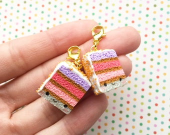 Kawaii Rainbow Cake Charm (1) - Polymer Clay Cake Charm - Phone / Book Bag / Purse Accessory - Cute Gift Idea - Kawaii Clip On Accessory