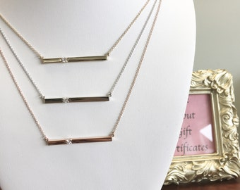 14K Gold Diamond Bar Layering Necklace