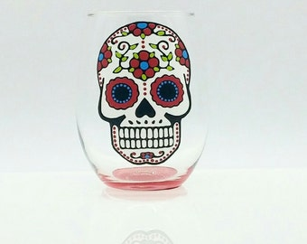 Sugar Skull Hand Painted Stemless Wine Glass Red Turquoise Green Dia de los Muertos Day of the Dead