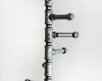 Coat Rack Stand, Standing Industrial Style Galvanized Pipe Spiral Coat Rack 8 Hooks and Brass Gate Valve Handle. Stand Alone. Maximize space