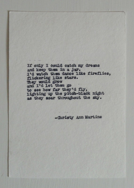 Gifts for Teen Girls - If Only I Could Catch My Dreams Poem - Hand Typed with Remington Typewriter