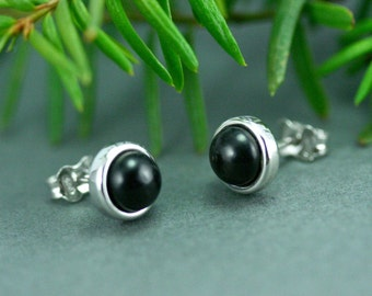 Black wood earring studs, Silver stud earrings, Small black stud earrings, Small stud earrings, Wooden studs silver earrings, Black earrings