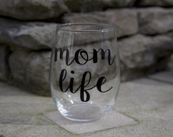 Mom Life-Stemless Wine Glass