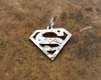Superman pendant,  Superman logo hand cut coin pendant
