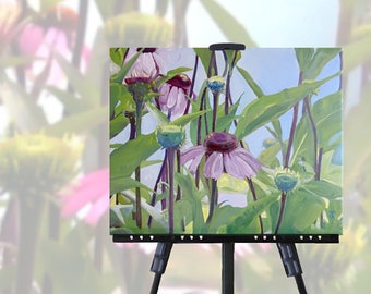 Coneflowers Painting on Canvas, original art, purple coneflowers, flower painting, flower art, wall art, unique gift, free shipping