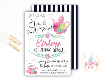 Wellie Wishers - Birthday Invitation - Tea Party - Watercolor - American Girl Inspired - FREE PRIORITY SHIPPING or Diy Printable