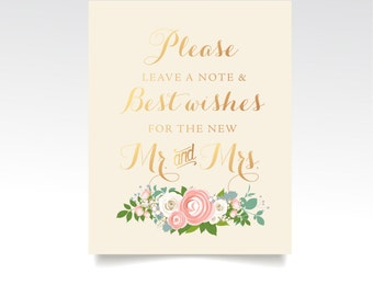 The JENNY . Guestbook Sign Best Wishes Mr & Mrs . PRINTED or PDF . Gold Cream Champagne Wedding . Blush Pink Rose Peony Dusty Miller Foliage