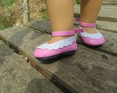 "Cute Hot pink 18"" Doll shoes, Fits American girl dolls"