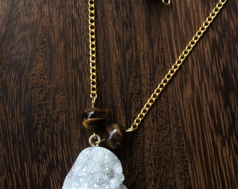 White and Gold Geode necklace [choker and pendant together] w/ beads