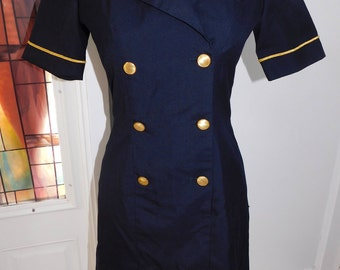 Vintage 80s Authentic Continental Airlines Stewardess Uniform Dress Flight Attendant Dress Navy Blue Gold Size Small