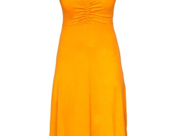 "Deep V Dress -  V Back Dress - Jersey Work Dress - Tangerine Bridesmaid - Tangerine Dress - Trendy Tall Summer Work Dress - ""MARCELLA"""