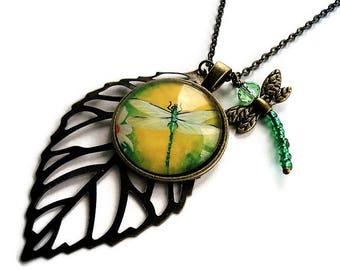 Dragonfly Necklace Boho Jewelry Vintage Style Chain Necklace Woodland Jewelry Leaf Necklace Everyday Jewelry Yellow Necklace Charm Necklace