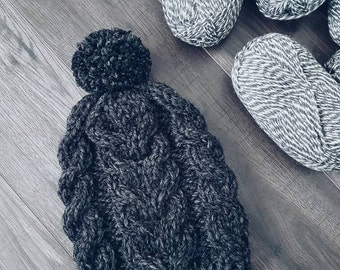 The Winchell Cable Knit Beanie ∙ Slouchy ∙ Pompom