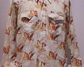 50s 60s Mens H Bar C Cowboy Western Pearl Snap Shirt Size 16 16.5 - 35