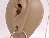 "Monet Thick Tube 1"" Hoops Pierced Post Stud Earrings Gold Tone Vintage 25mm Round Smooth Polished Large Open Dangle Rings"