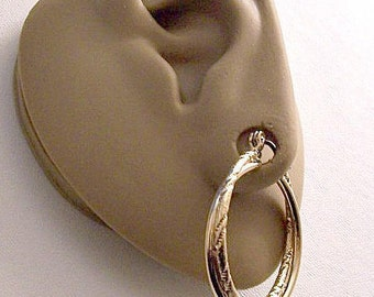 Avon Double Rib Big Hoop Pierced Post Stud Earrings Gold Tone Vintage Smooth Polished Frosted Twisted Imprinted Large Round Rings Dangles