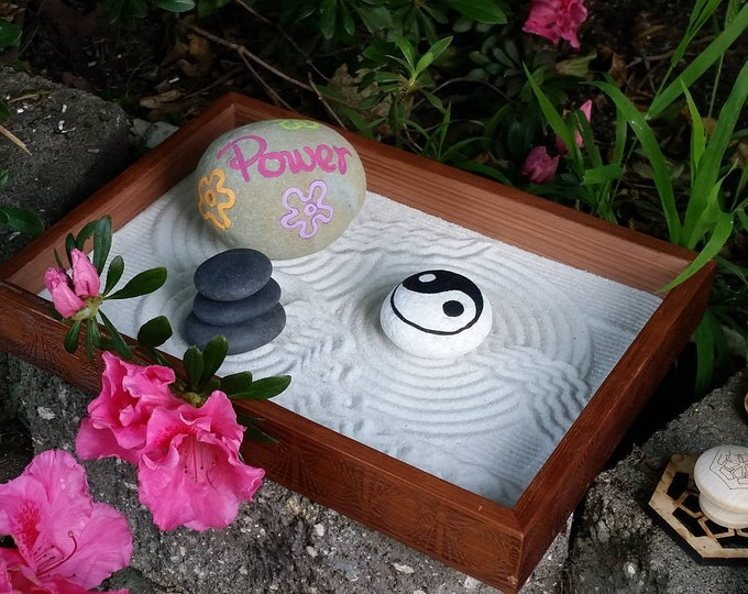Handmade Zen Garden with unique sand stamps and rakes