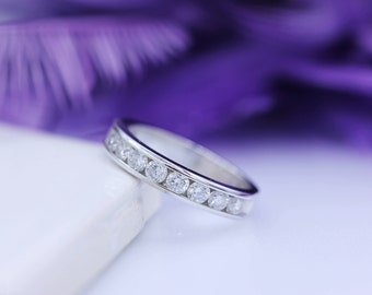 1.00tdw Channel Set Diamond Band, Diamond Wedding Band, 14K White Gold Band, Half Eternity Band, Channel Set Ring, Diamond Wedding Ring