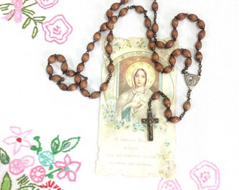 RESERVED French Wooden Rosary Beads. Simple Vintage French Wooden Bead Crucifix Necklace