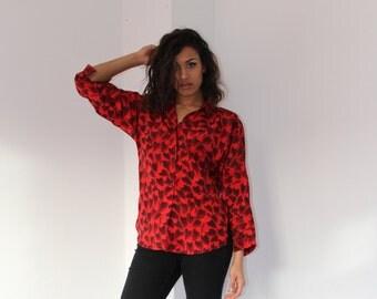 Vintage 80's Blouse In Red Black Print Women's Vintage Shirt 80's Retro Blouse Blouse Small Red Black Vinatge Fashion Clothing