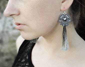 Birthday gift|for|her Long tassel earrings Gray dangle earrings Sparkly bridal earring Dainty earring Soutache Bead earrings Fashion jewelry