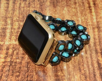 Hematite and Turquoise apple watch band 38mm / 42mm // apple watch accessories - apple watch strap - iwatch band - lugs adapter - no-clasp