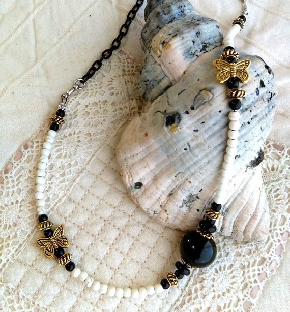 Stylish Gothic Chic Beaded Butterfly Necklace, Gold Butterfly Beads, Black Iron Chain, Black Glass Beads, White Howlite Turquoise Beads