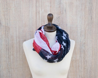 American Flag Scarf Infinity Patriotic Gift  4th July National Holiday Teacher Gift Patriotic Flag Pattern Scarf America Flag USA Stars