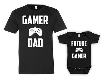 Funny Father Son Matching Shirts Daddy Daughter Shirts Baby Clothes Fathers Day Video Games Gifts For New Dad To Be Bodysuit - JM125-126