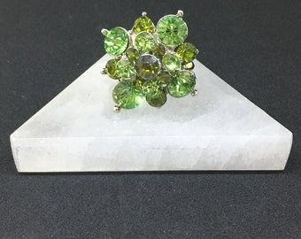 Handmade Silver-plated Diamond-shaped Green-toned Crystal Faceted Adjustable Fashion Ring