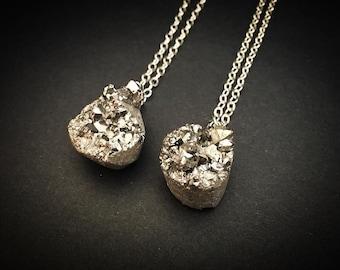Natural Geode Rock Necklace - Natural Druzy Necklace - Silver Druzy Necklace Crystal Rock Jewelry - Geode Necklace Pendant Crystal Necklace