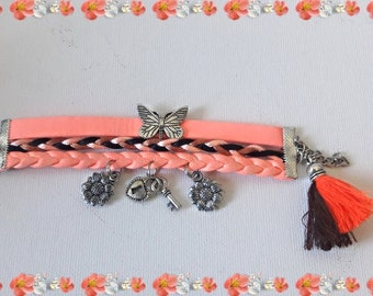 Boho friendship pink cuff bracelet  Ibiza style pink cuff, size: 6 inches  for your little girl