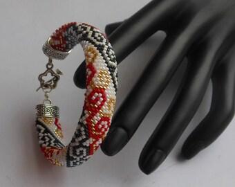 Bead Crochet Bracelet Elegant Beaded bracelet  Handmade Bracelet Miyuki delica Red  bracelet Jewelry Bracelet Jewelry gift for her