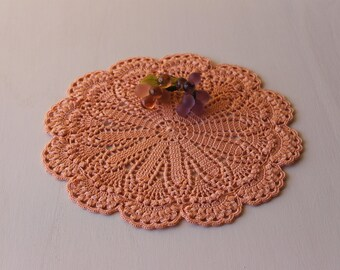 Little red o pink doily Crochet doilies Handmade crochet Made in Italy Home Decor
