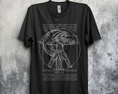 Vitruvian Hunters Negative (TEXT) T-shirt / Alien Vs Predator Tee / Xenomorph / Sci-fi / Horror Movies /  Leonardo / Free Shipping worldwide