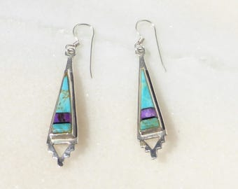 Sterling Silver, Turquoise, and Sugilite Inlay Earrings