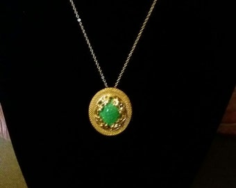 flower necklace a green stone in it, Ar-Novo Style
